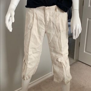 Lucky Brand Ivory Linen Cropped Cargo Pants